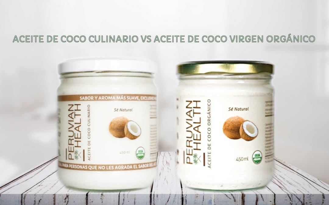 Aceite de coco culinario vs aceite de coco virgen orgánico